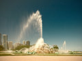 Chicago, Illinois, USA. Buckingham Fountain water stream in Grant Park Royalty Free Stock Photo