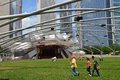 Chicago june people visit jay pritzker pavilion in millennium park on june in jay pritzker pavilion is a famous bandshell Royalty Free Stock Images
