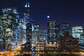 Chicago la nuit. Images libres de droits