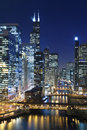 Chicago la nuit. Photographie stock libre de droits