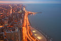 Chicago Lake Shore Drive Aerial View at twilight Royalty Free Stock Photo