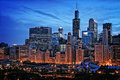 Chicago lakefront skyline cityscape at night by millenium park w Royalty Free Stock Photo