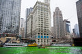 Chicago march chicago river dyed green st patrick s day chicago march Royalty Free Stock Photo