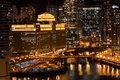 Chicago merchandise mart at night Royalty Free Stock Photos