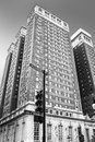 Chicago michigan avenue monochrome illinois Stock Image