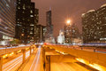 Chicago multi-level road system leads into city at night Royalty Free Stock Photo