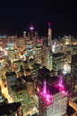 Chicago night aerial view Stock Photos