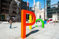 Chicago and picasso may a temporary exhibit at daley plaza spelling stands in front of the original the statue in on Royalty Free Stock Photography