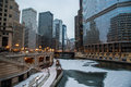 Chicago river on christmas clear and crisp day along the in il Stock Photos