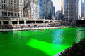Chicago river through downtown on st patrick s day Royalty Free Stock Photo