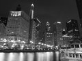Chicago River at Night Black and White Royalty Free Stock Photo