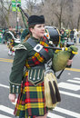 Chicago saint patrick parade march bagpiper at the annual s day in on march Royalty Free Stock Photography