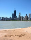 Chicago skyline from the beach Stock Photo