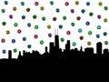 Chicago skyline with dollar symbols Royalty Free Stock Photo