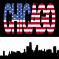 Chicago Skyline with flag text Royalty Free Stock Photography
