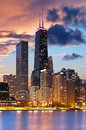 Chicago skyline image of downtown during beautiful sunset Royalty Free Stock Images