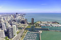 Chicago skyline panorama aerial view with skyscrapers and city at michigan lakefront Royalty Free Stock Image