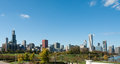 Chicago skyline panorama with beautiful blue sky background Royalty Free Stock Image
