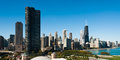 Chicago skyline panorama with beautiful blue sky background Stock Photos