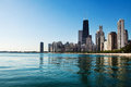 Chicago skyline partial view near north avenue beach over lake michigan Royalty Free Stock Images