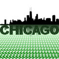 Chicago skyline reflected with dollar symbols illustration Royalty Free Stock Photo