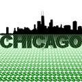 Chicago skyline reflected with dollar symbols Royalty Free Stock Photo