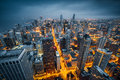 Chicago skyline by a stormy night Royalty Free Stock Image