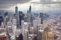 Chicago skyline on a stormy winter s day in illinois usa Stock Photos