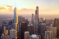 Chicago skyscrapers at sunset Royalty Free Stock Photo