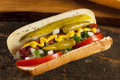 Chicago style hot dog with mustard pickle tomato relish and onion Royalty Free Stock Photos