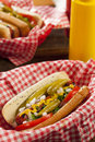 Chicago style hot dog with mustard pickle tomato relish and onion Royalty Free Stock Photography