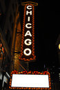 Chicago theatre sign at night Stock Photos