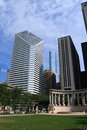 Chicago Towers and Wrigley Square in Millenium Park Royalty Free Stock Photo