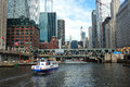 Chicago water taxi and downtown building Royalty Free Stock Photography