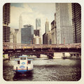 Chicago water taxi and downtown building Stock Images