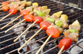 Chiche kebab sur le gril de bbq Photo stock