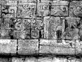 Chichen itza mayan glyphs on the walls at in yucatan mexico Stock Photos