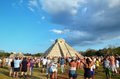 CHICHEN ITZA, MEXICO - MARCH 21,2014: Tourists watching the feathered serpent crawling down the temple Equinox March 21 2014 Royalty Free Stock Photo