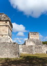 Chichen itza pyramid against the cloudy sky yucatan mexico Royalty Free Stock Photos