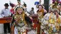Chichicastenango guatemala dance of the conquerors made wooden mask Stock Photo