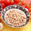 Chick peas some dried in bowl Stock Images
