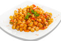 Chick peas with tomatoes boiled onions garlic green pepper carrots and paprika Stock Photos