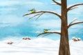Chickadee birds in winter