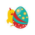 Chicken animal with colorful easter egg
