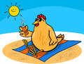Chicken on the beach cartoon illustration of or hen with suntan cream Stock Images