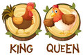 Chicken being king and queen Royalty Free Stock Photo