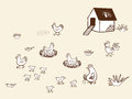 Chicken bio farm in countryside hand drawn vector illustration Royalty Free Stock Photo