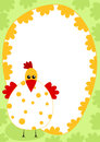 Chicken border frame card invitation or greeting with an egg shape Stock Photo
