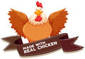 Chicken and bown ribbon Royalty Free Stock Photo