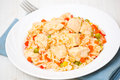 Chicken breast with rice and vegetables on plate Royalty Free Stock Photography